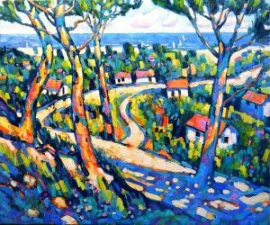Path to the sea Provence, oil on canvas, 55 X 45 cms