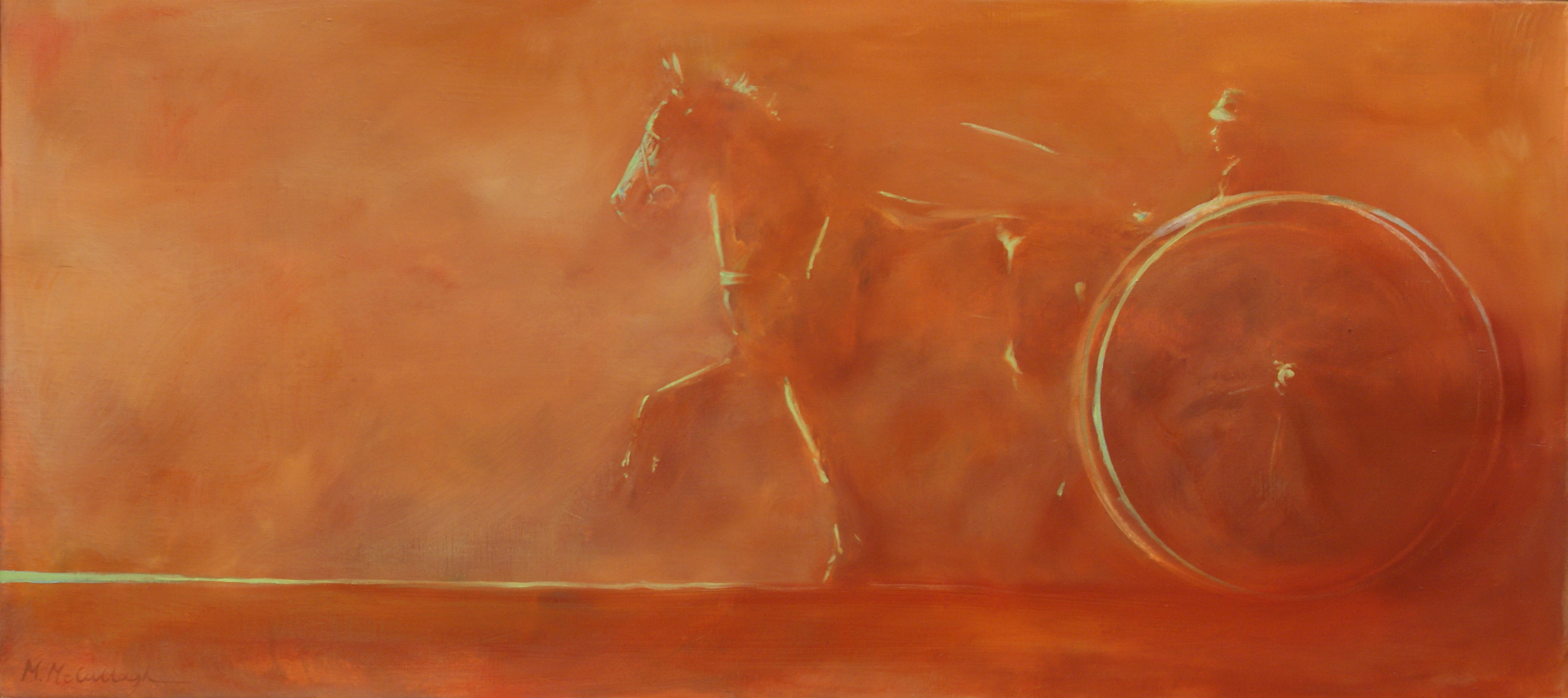 One Boy His Pony and Trap, 10-x-22, oil-on-canvas