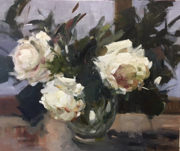 White Roses in a Glass Vase 1