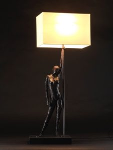 Samantha Thornton bronze lamp with leaning nude female figure
