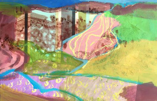 Nicky Basford, Umbrian Landscape, Pink 1