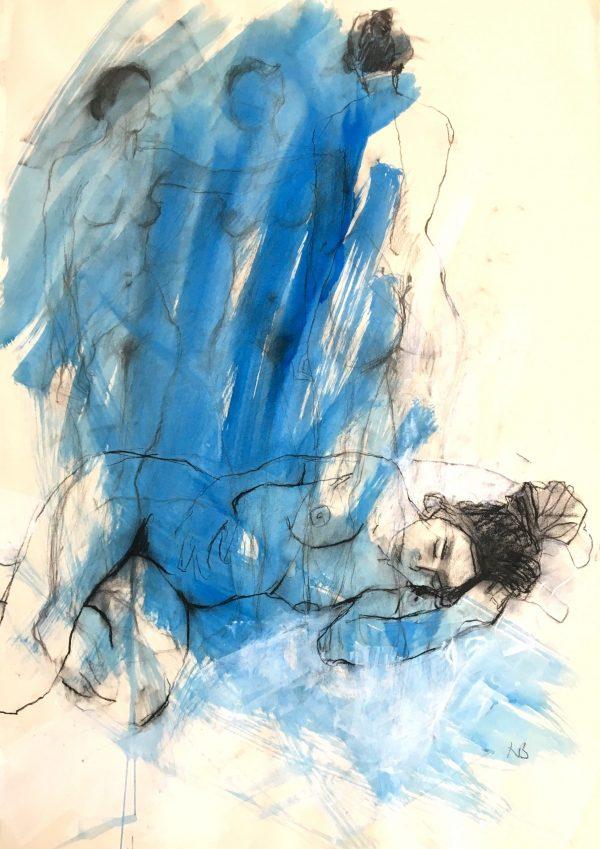 Nicky Basford, Sleeping Female Nude, Blue 1