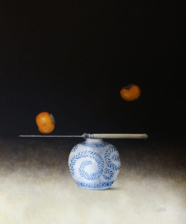Alison Rankin, Blue Leaf Jar with Persimmon 1
