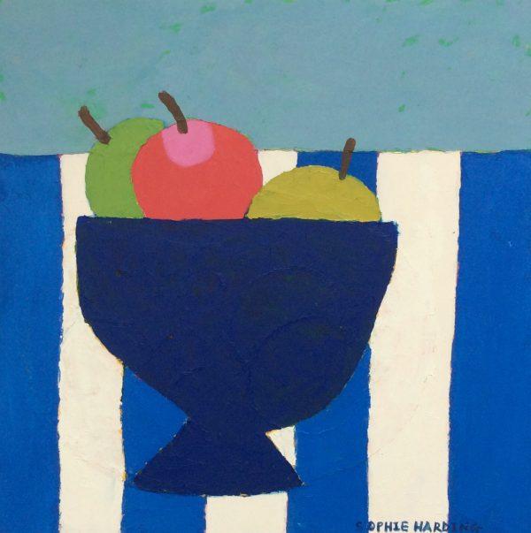 Sophie Harding, Apples on Blue  Stripes 1