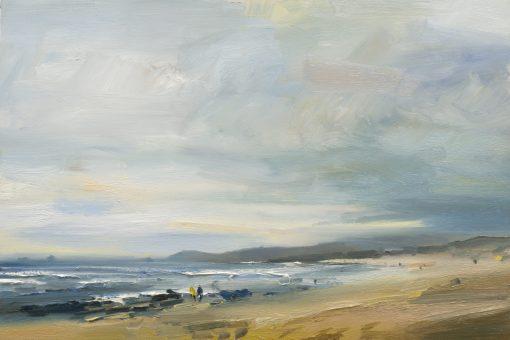 David Atkins, Breezy Day on Constantine Beach. Cornwall 1