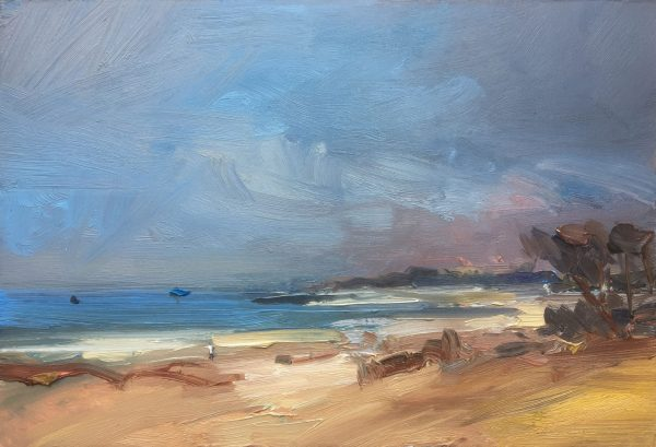 David Atkins, Winter Walk on the Beach. Studland Bay 1