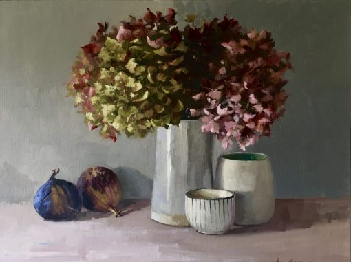 Penny German, Hydrangeas, figs and pots 1
