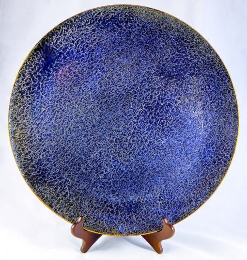 David Gee, Blue Platter with Black Decoration 1
