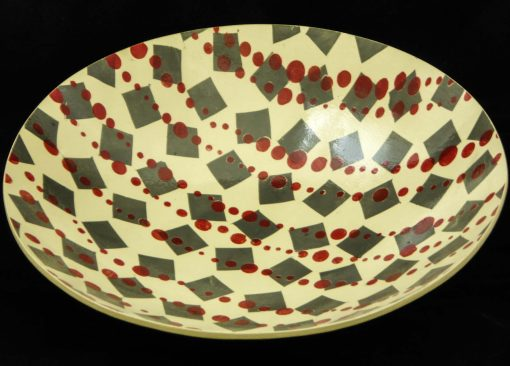 David Gee, Grey Tumbling Squares with Red Dots deep bowl 1