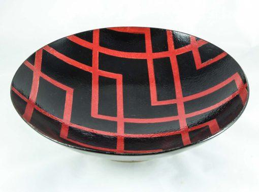 "David Gee, Black & red ""deco"" bowl 1"