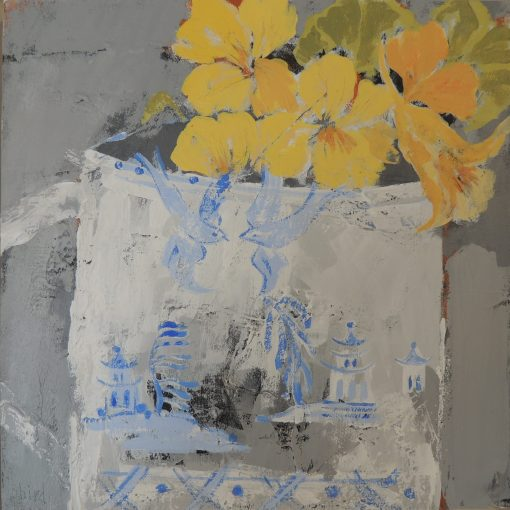 Christie Bird, Nasturtiums and Willow Pattern 1