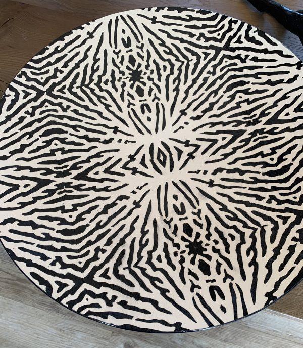 David Gee, Ordered Kelp black on white bowl 1