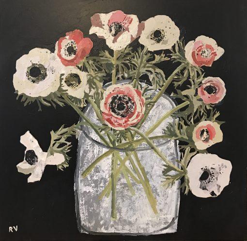 Rosemary Vanns, Red & White Anemones 1