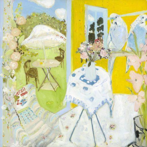 Belynda Sharples, Studio - Summertime with 2 budgies 1