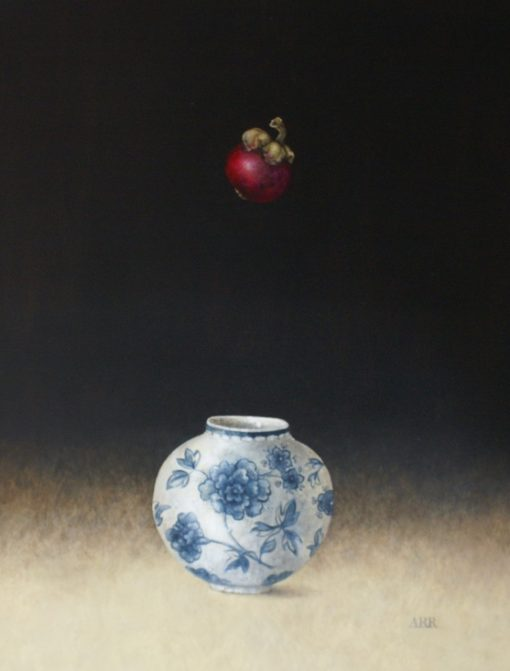 Alison Rankin, Blue and White Jar with Falling Mangosteen 1