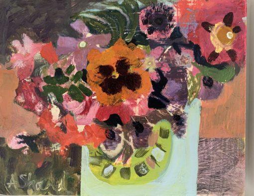 Arabella Shand, Dahlias in green vase 1