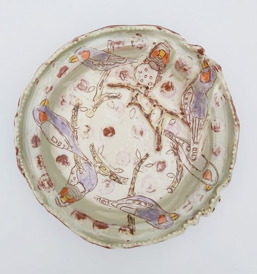 Belynda Sharples, Round Shallow Dish with Raised Birds 1