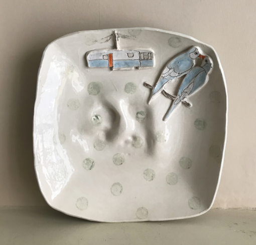 Belynda Sharples, Uneven square plate with Caravan and Budgies 1