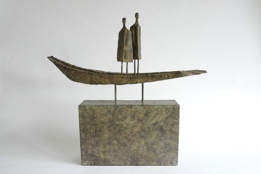 Roger Hardy, Boat People (bronze with wooden base) 1