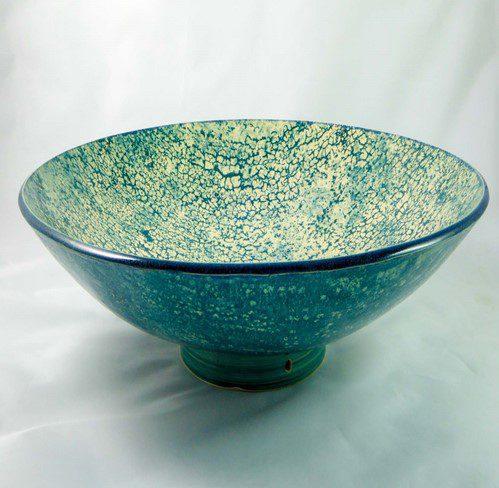 David Gee, Fine teal crawl on cream deep bowl 433 1