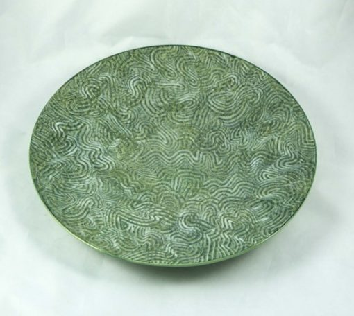 David Gee, Green combed shallow bowl 394 1