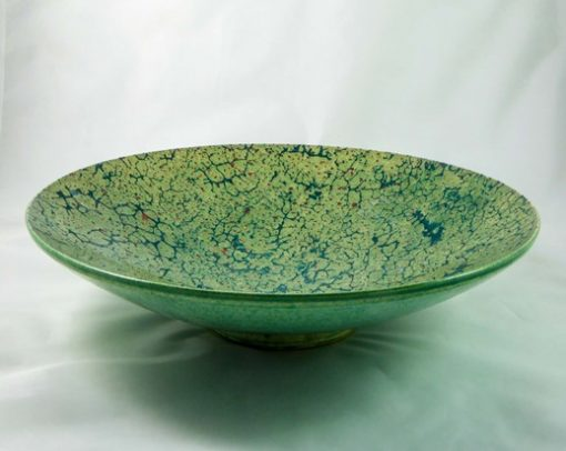 David Gee, Teal crawl and red spatter bowl 434 1