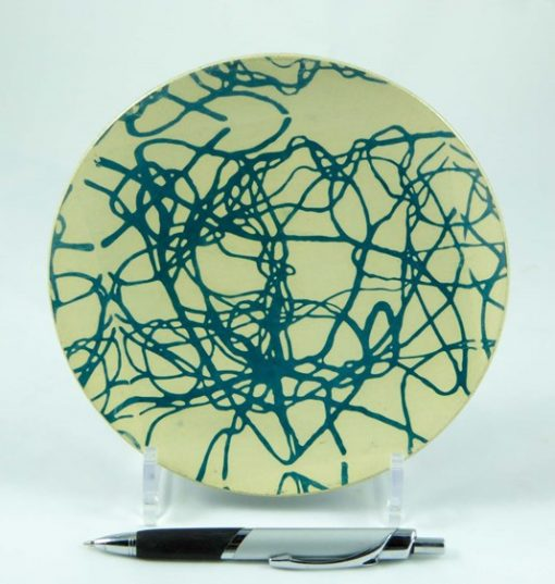 David Gee, Turquoise wisteria small plate 412b 1