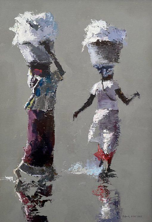 Patrick Gibbs, Two Women Carrying Washing 1