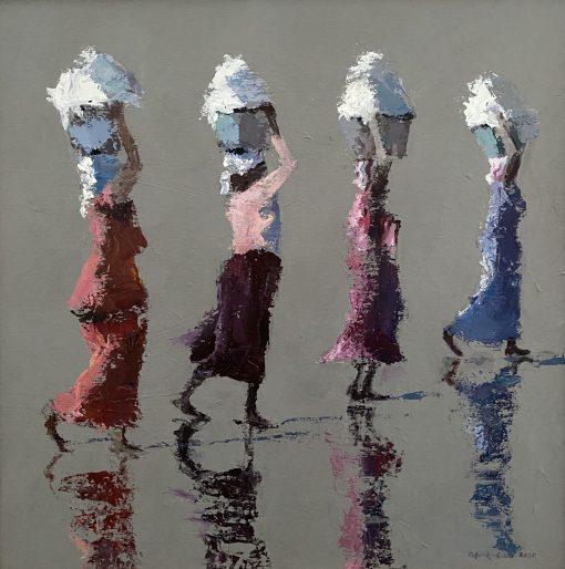Patrick Gibbs, Four Women Carrying Washing 1