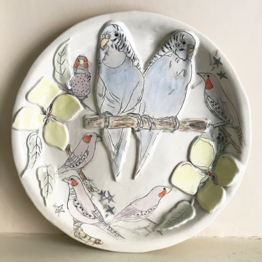 Belynda Sharples, Large Round Plate - Budgies, Finches, Flowers 1