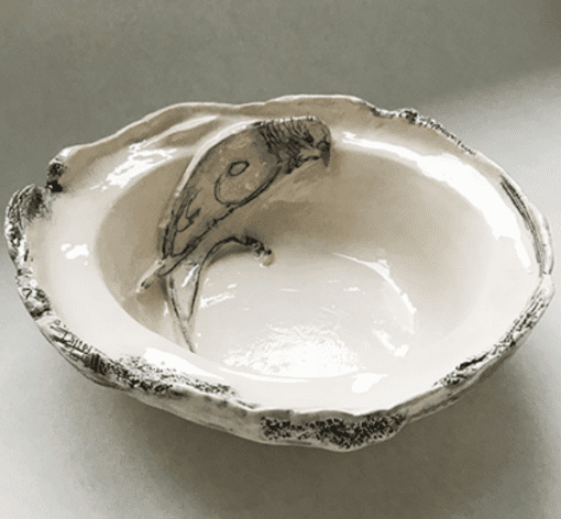 Belynda Sharples, Black and Cream Dish with Single Budgie 1 1