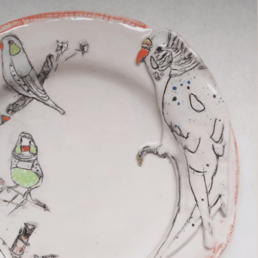 Belynda Sharples, Plate - Budgie and Finches on cream background 1