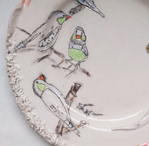 Belynda Sharples, Plate - Budgie and Finches on cream background 2