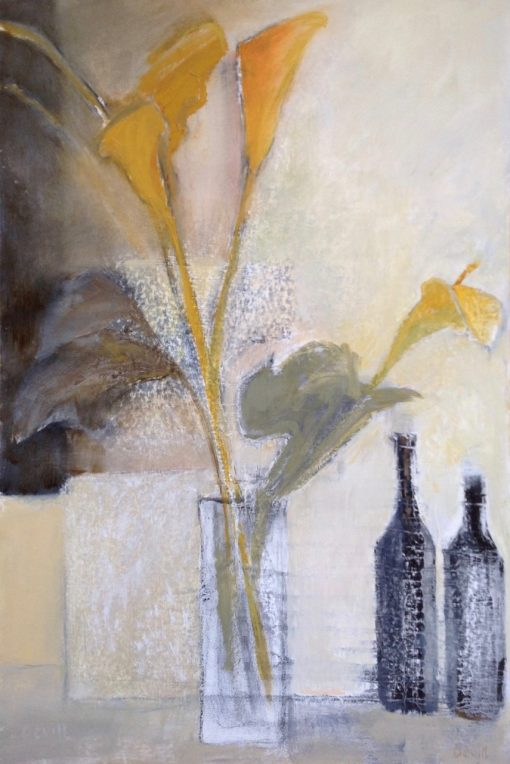 Margaret Devitt, Two Bottles & Arums 1