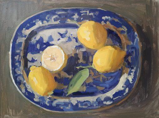 Lotta Teale, Lemons on Blue Patterned Plate 1