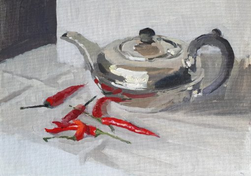 Lotta Teale, Thai Chillies with Silver Teapot 1
