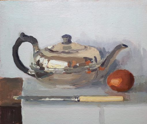 Lotta Teale, Silver Teapot with Egg & Knife 1