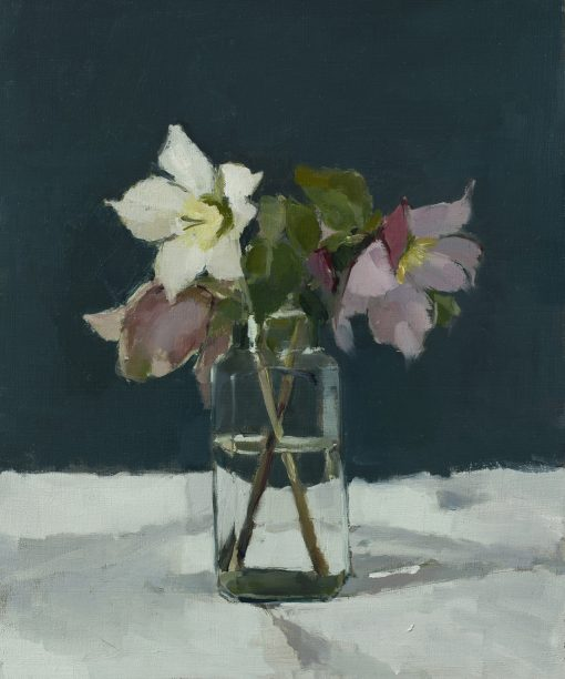 Annie Waring, Three Hellebores in Glass Jar 1