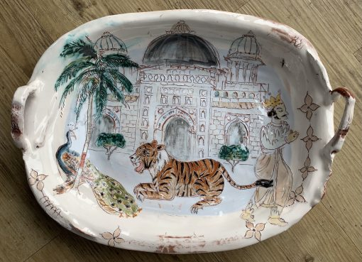 Belynda Sharples, Large Oval Platter with Tiger and Peacock 1
