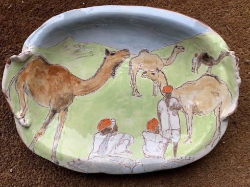 Belynda Sharples, Large Oval Pushkar Camel platter 1