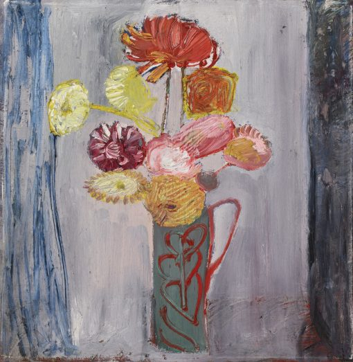Romi Behrens, Dahlias (Green Jug with Red) 1