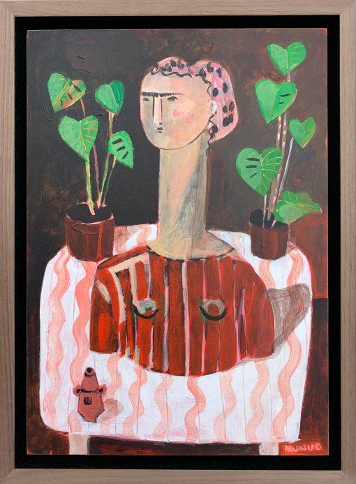 Naomi Munuo, Bust on Zig Zag Table Cloth 1