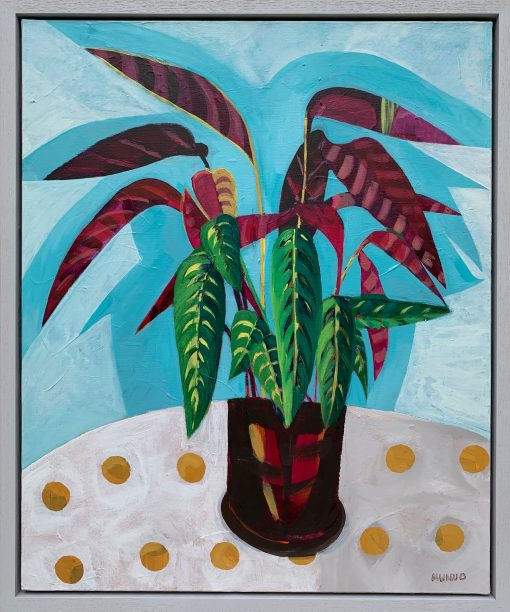Naomi Munuo, Prayer Plant on Spotty Cloth 1