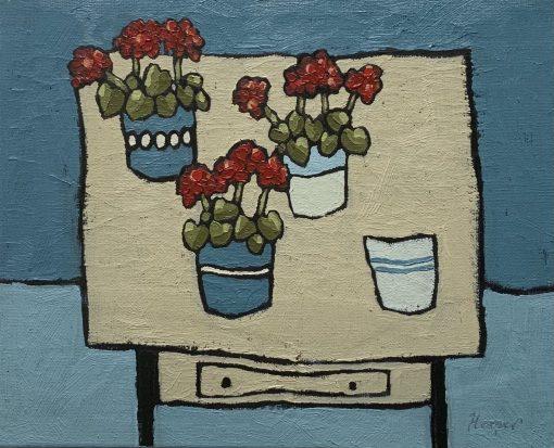 Jane Hooper, Three Geraniums 1
