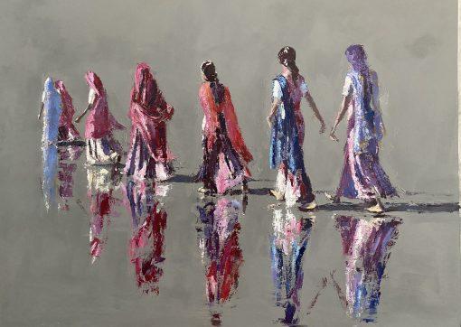 Patrick Gibbs, Women Walking Gujarat, India 1