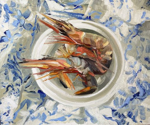 Ollie Tuck, Tiger Prawns on Blue & White Tablecloth 1