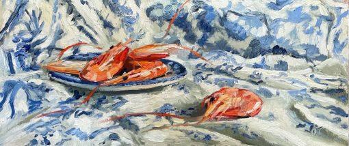 Ollie Tuck, Tiger Prawns on Blue & White 1