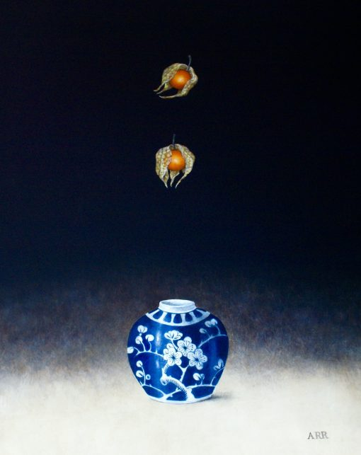 Alison Rankin, Small Ginger Jar with Two Falling Physalis 1